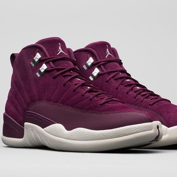 burgundy and white jordan 12